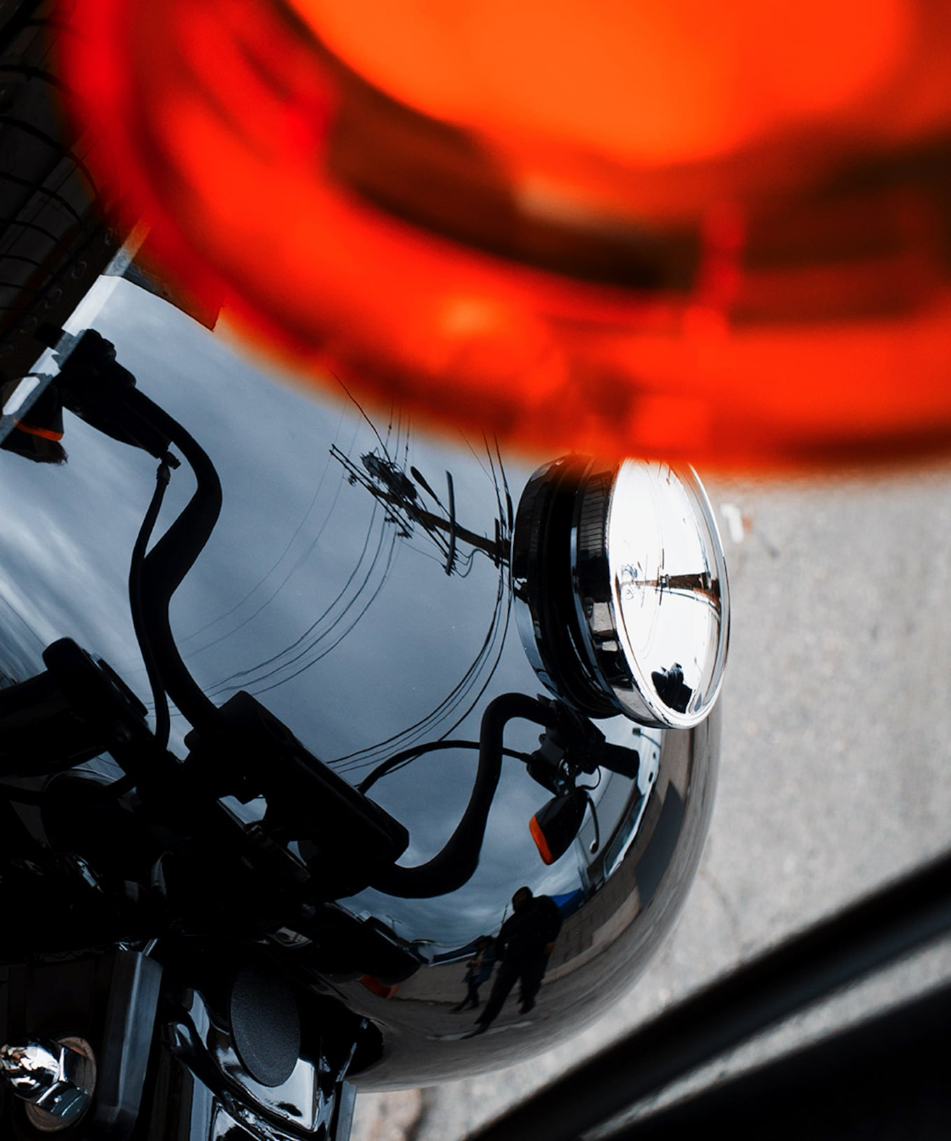 closeup motorcycle rear light