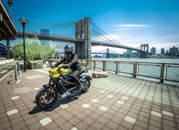 Person Riding A Harley Davidson Electric Motorcycle