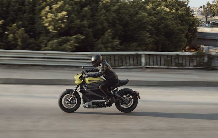 A rider aboard the Harley-Davidson Livewire™ motorcycle with Reflex Defensive Rider Systems