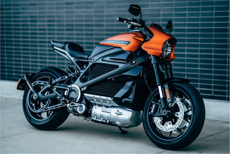 Parked H-D Livewire electric motorcycle