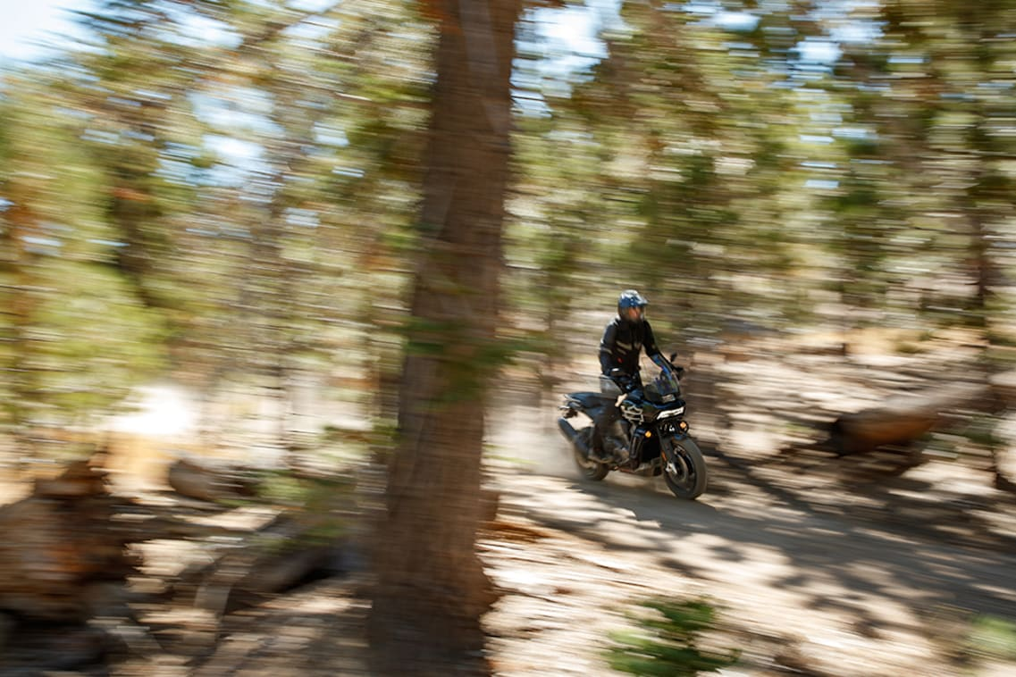 The blur of adventure riding on a H-D Pan America