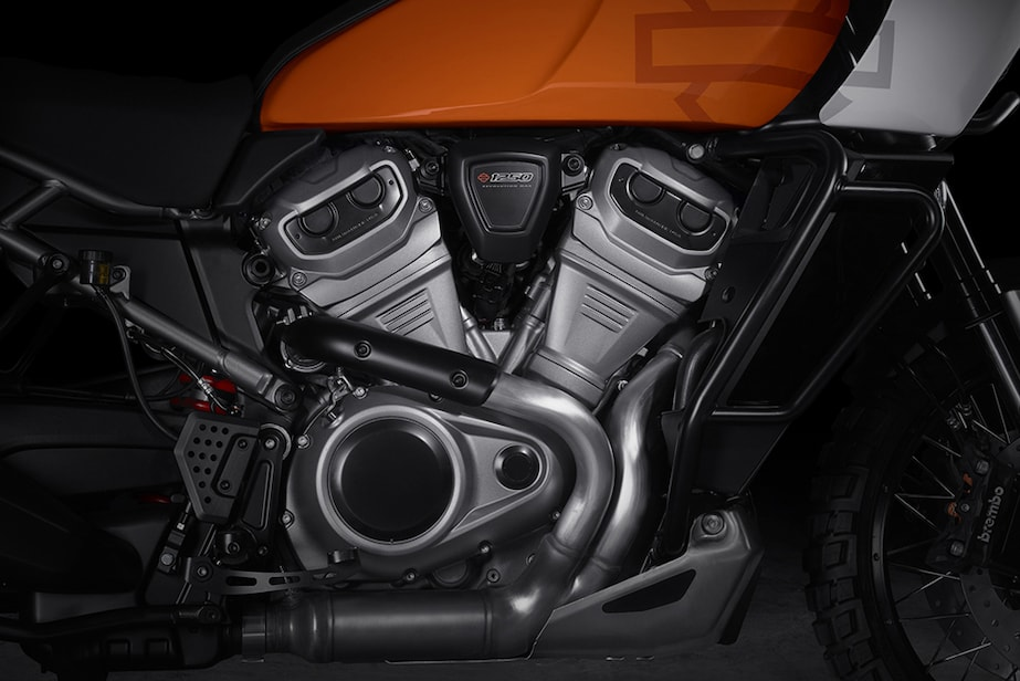 Closeup of the Harley Pan America's 1250cc engine