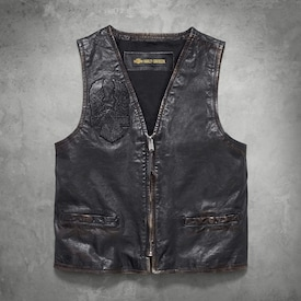 Iron Distressed Slim Fit Leather Vest image