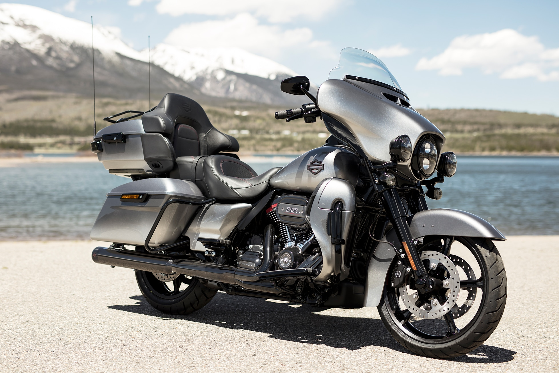 2019 CVO Limited motorcycle parked by mountain scenery