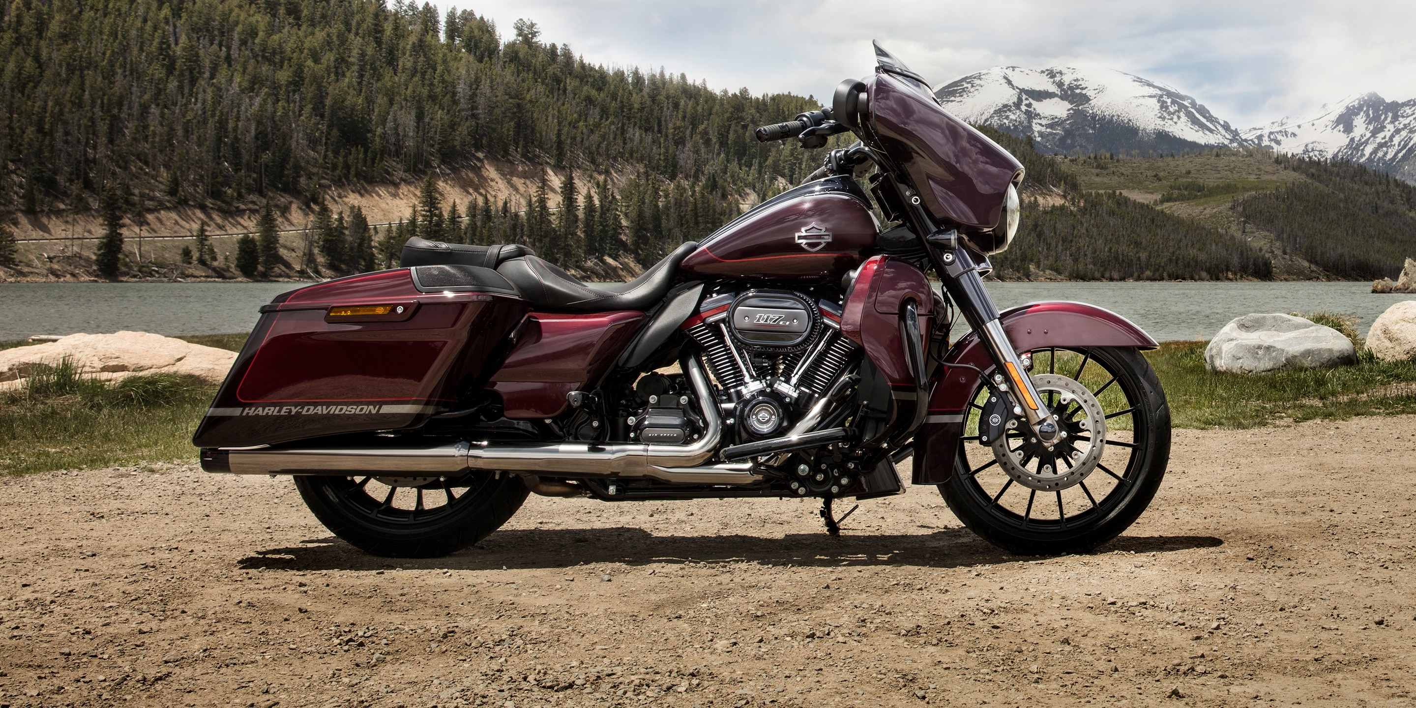 2019 CVO Street Glide motorcycle parked by mountain scenery