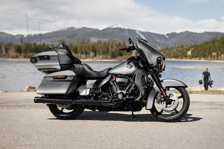 2019 CVO Limited H-D Motorcycle Parked In Front OF A Mountain Range