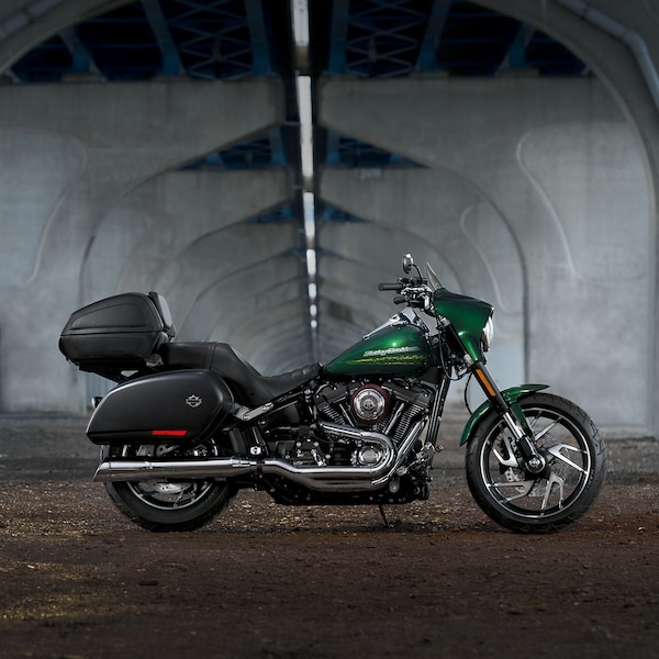 2019 Harley-Davidson Softail motorcycle Parked Under a Flyover