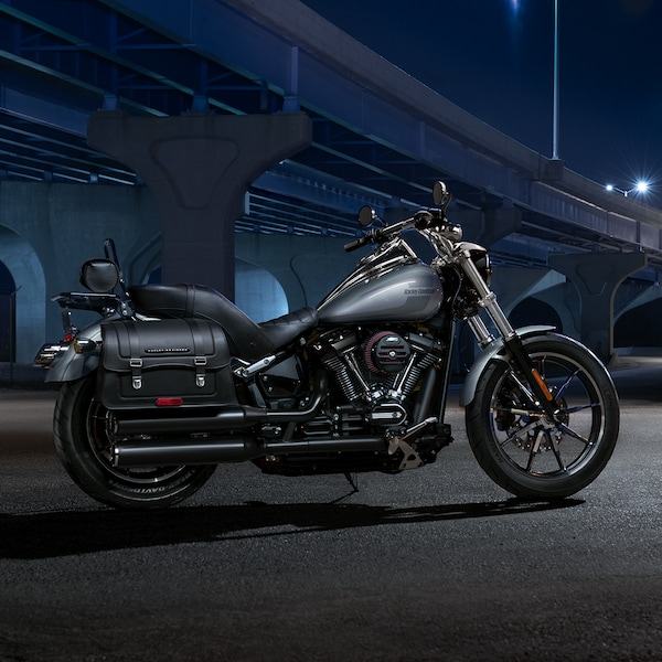 2019 Softail H-D Motorcycle Parked In Front Of A Bridge