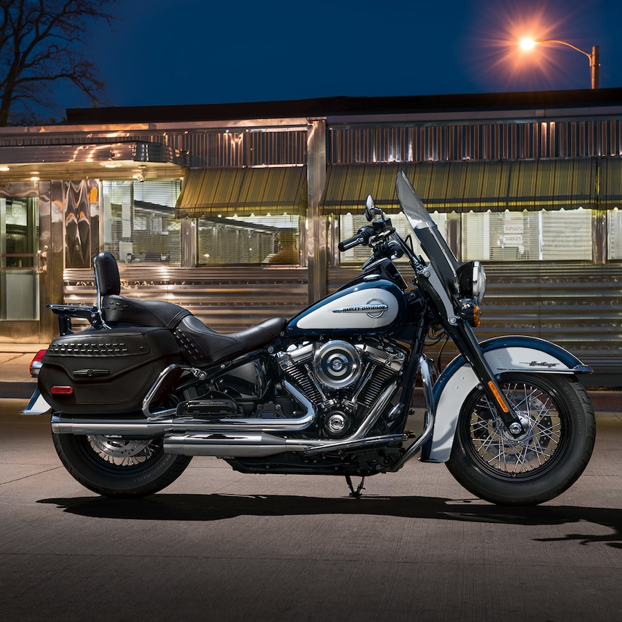 2019 Harley-Davidson Softail motorcycle Parked in Front of a Restaurant