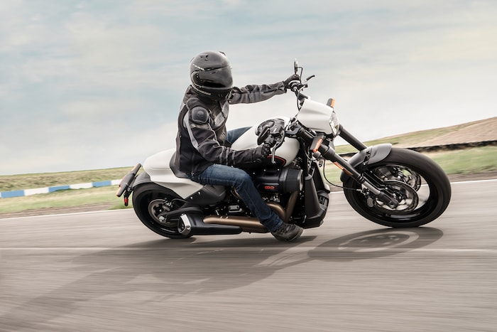 Man Riding 2019 H-D Softail motorcycle
