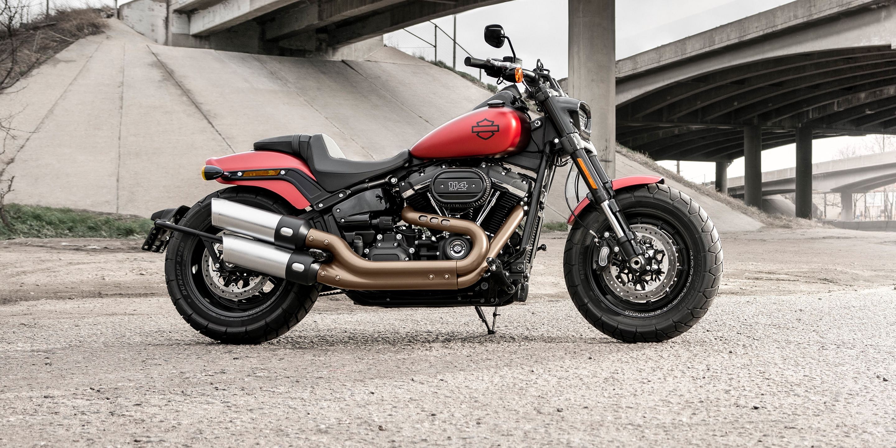 2019 Fat Bob Motorcycle parked outside a warehouse