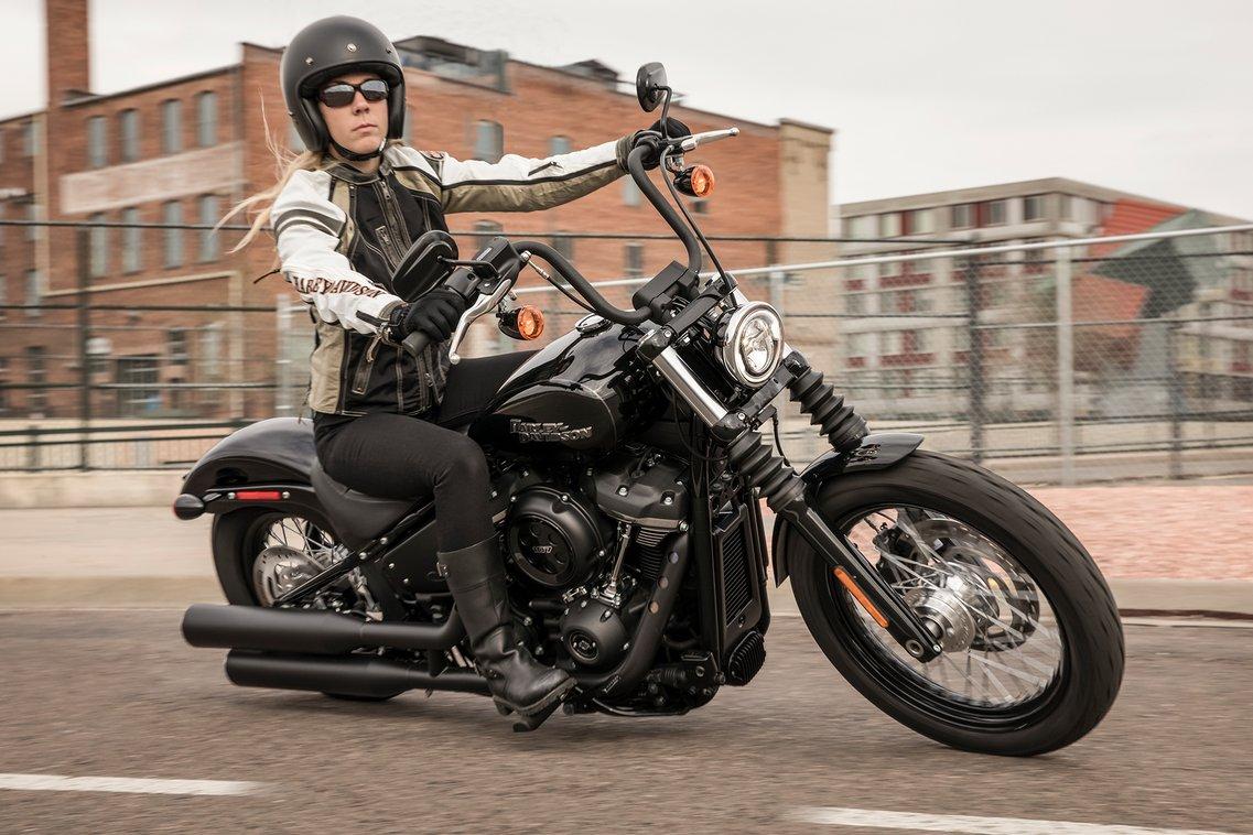 Woman riding a 2019 Street Bob motorcycle