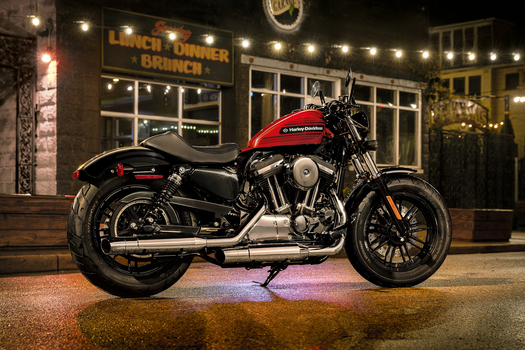 2019 H-D Sportster Forty-Eight Special motorcycle Parked in Front of Restaurant