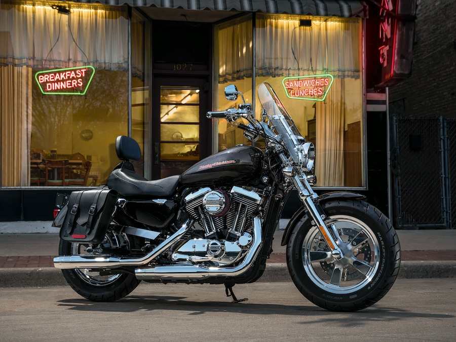 2019 H-D Sportster motorcycle Parked in Front of a Restaurant