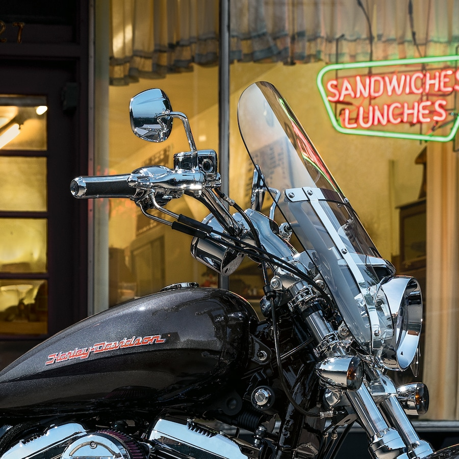 Windshield on a 2019 H-D Sportster motorcycle
