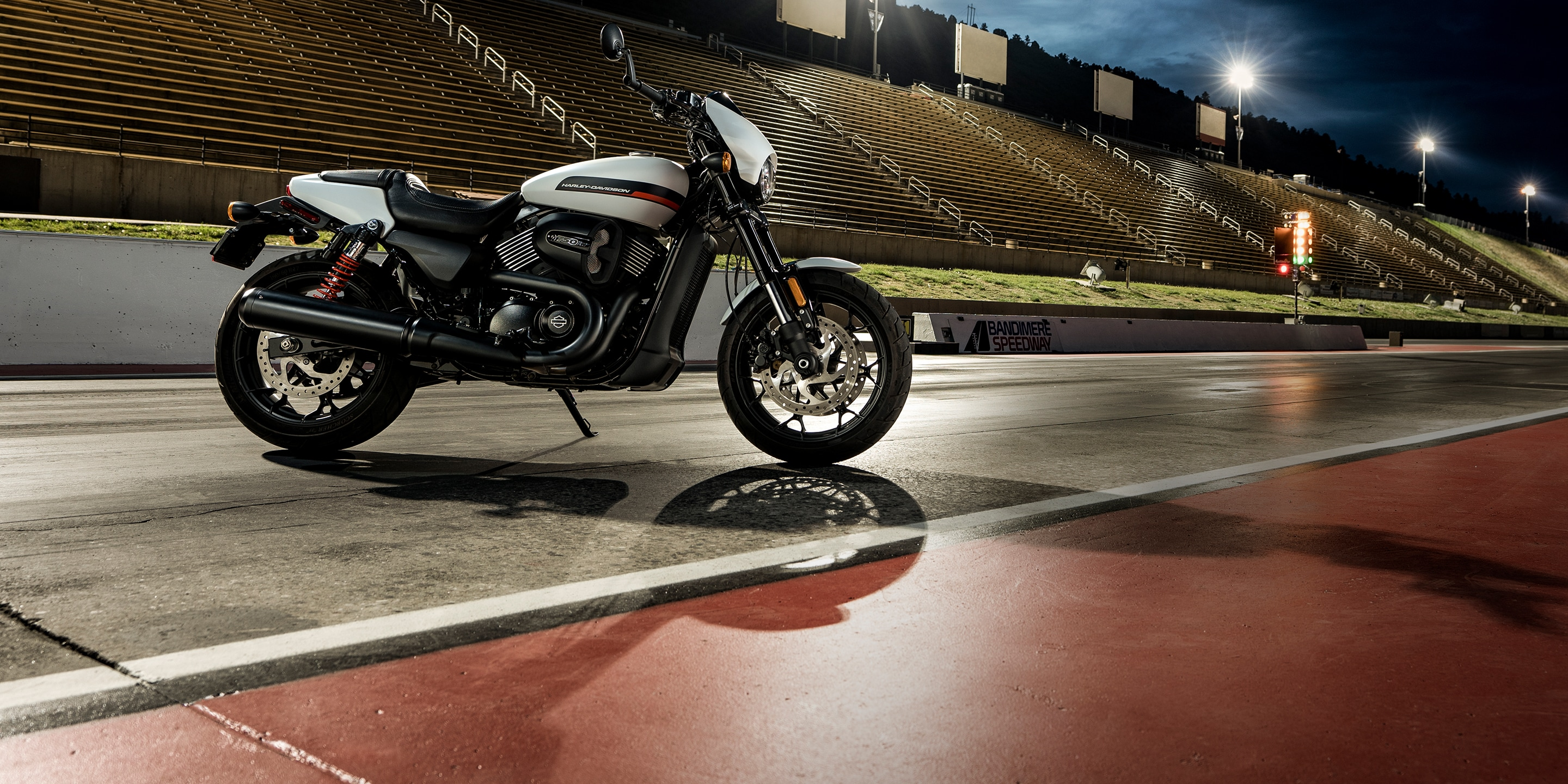 2019 H-D Street Motorcycle parked on a race track
