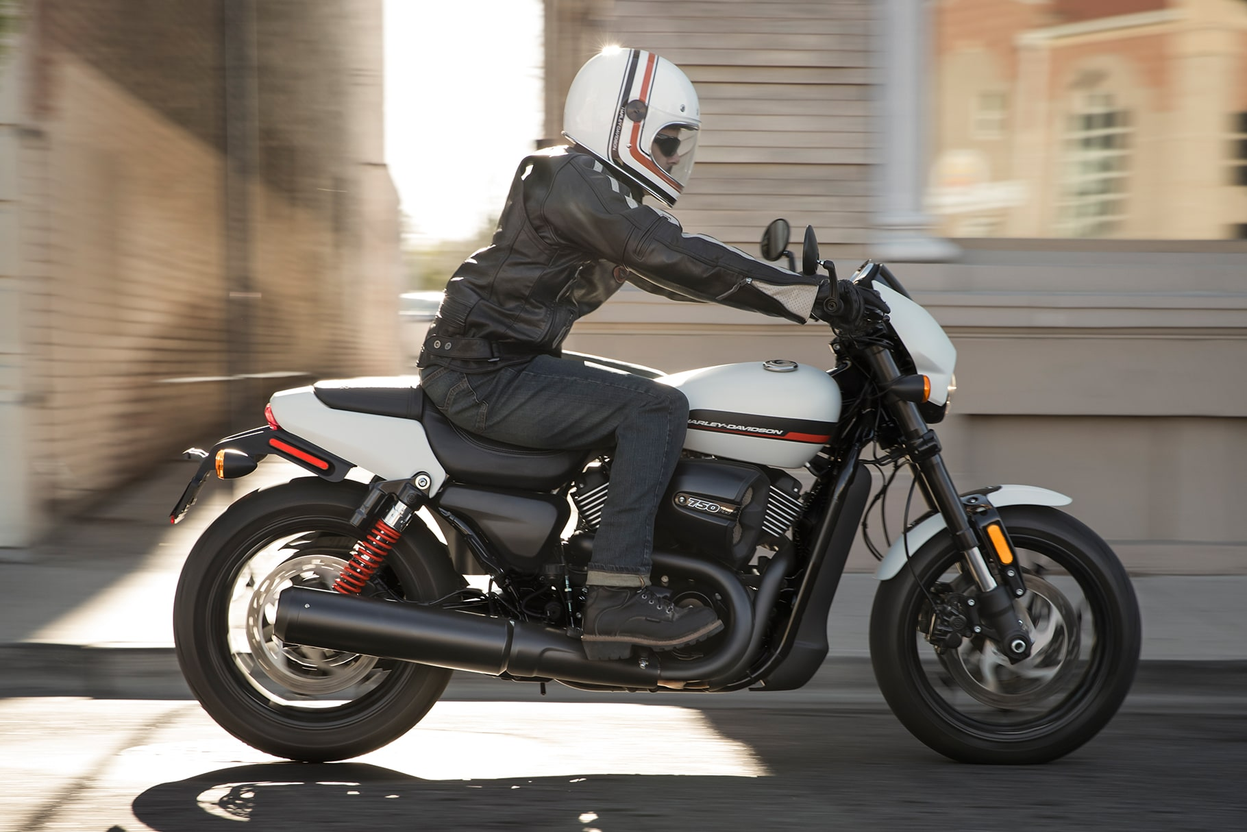 Man riding a 2019 Street H-D motorcycle