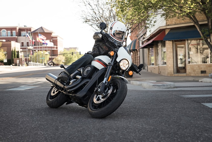 Man riding a 2019 H-D Street motorcycle
