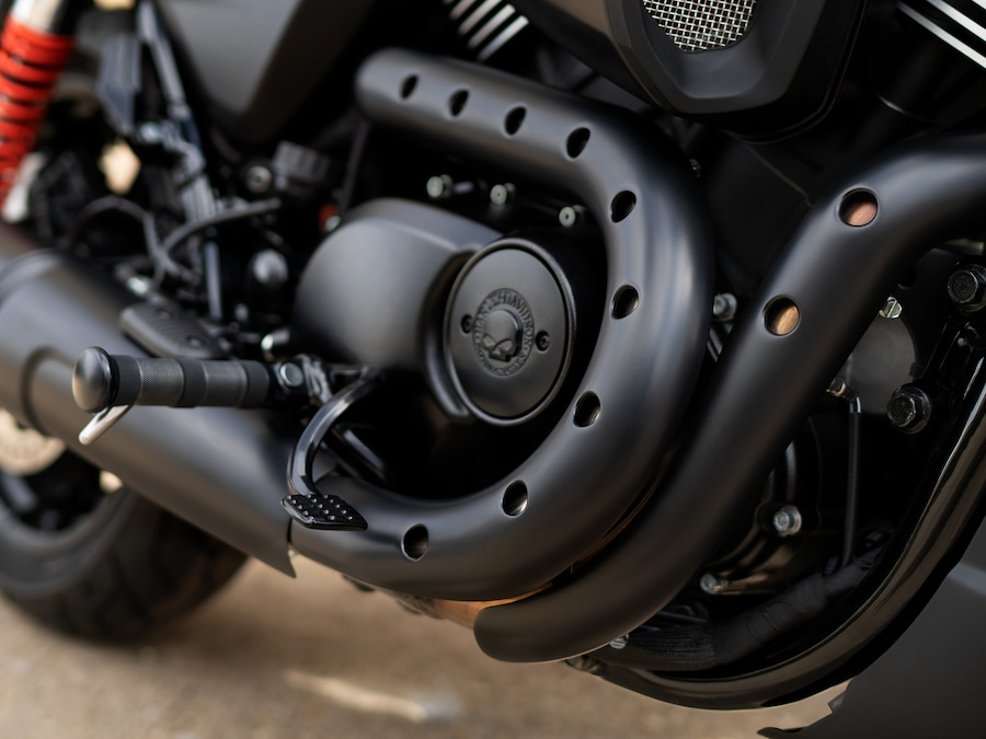 2019 Harley-Davidson Black Street Rod Motorcycle Foot Pegs and Exhaust