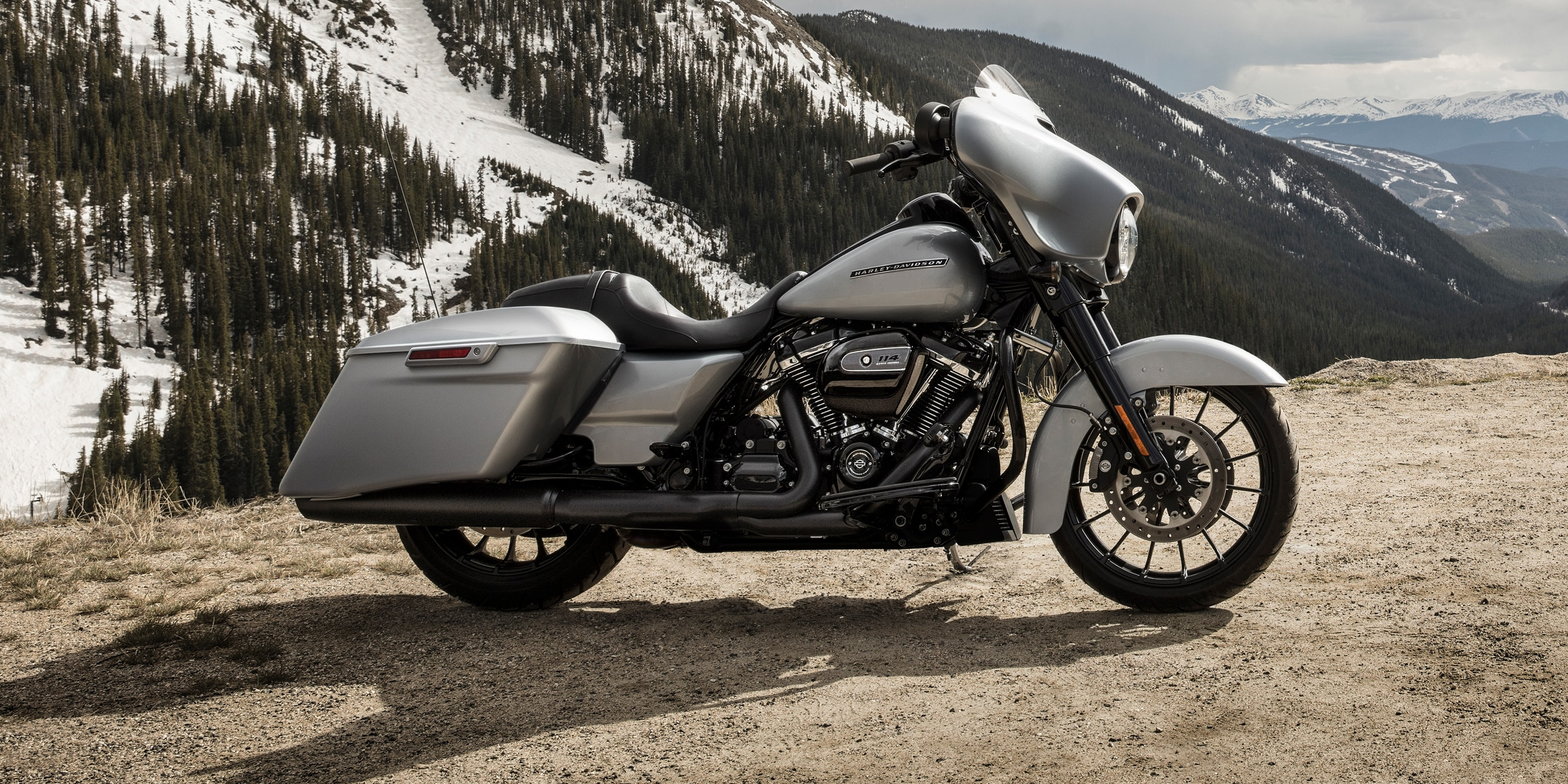 2019 Street Glide Special motorcycle parked by mountain scenery