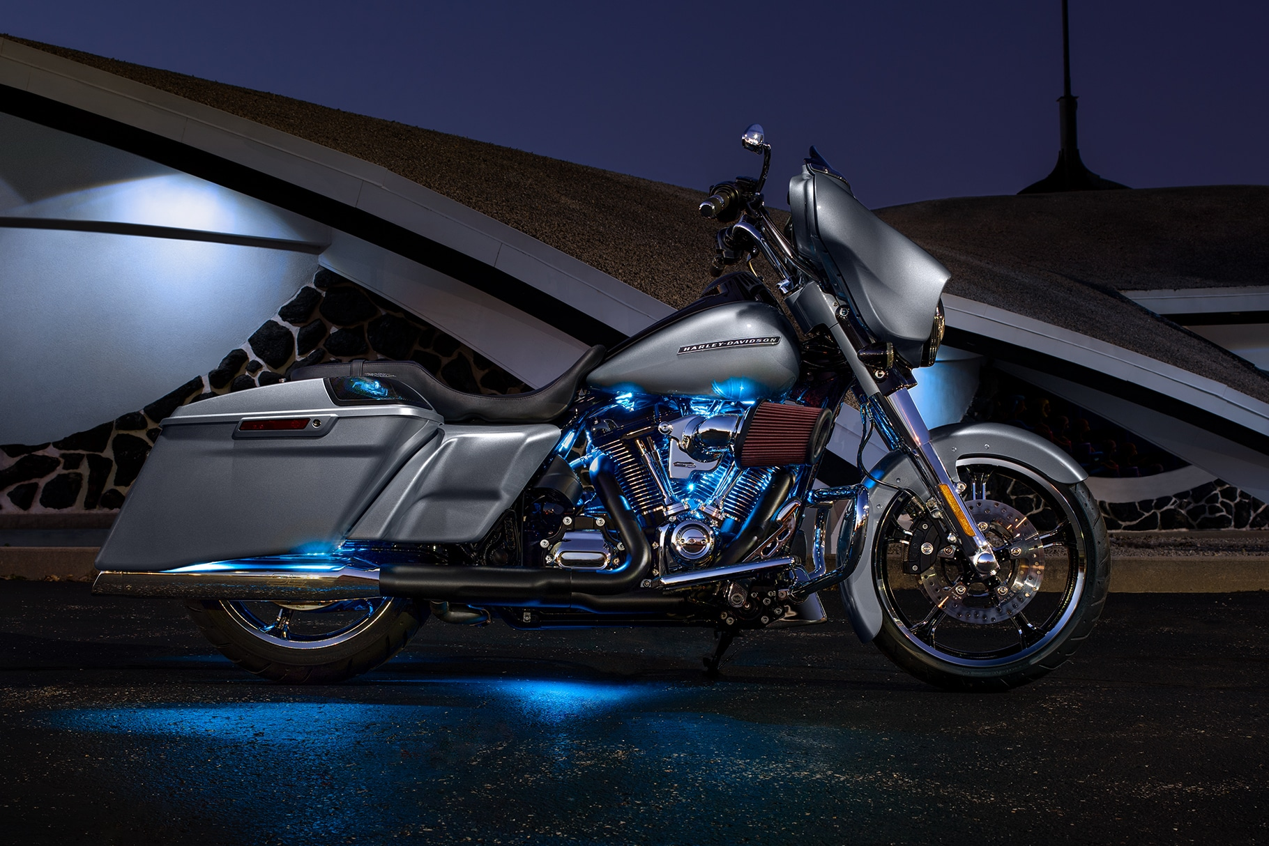 Parked 2019 Custom Silver Street Glide Special motorcycle