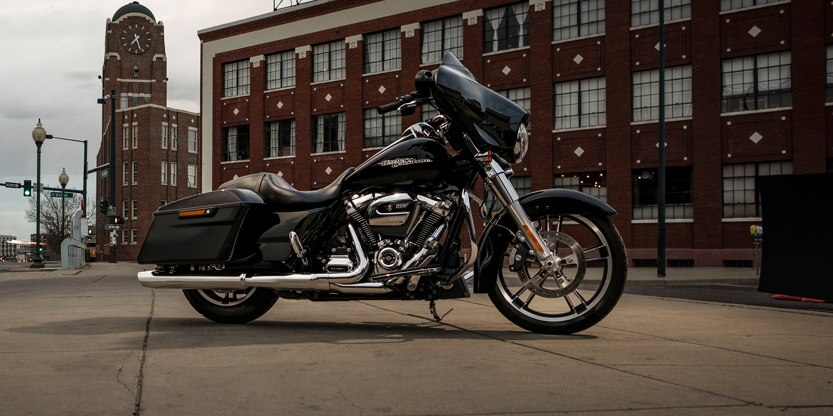 2019 Street Glide motorcycle parked by building