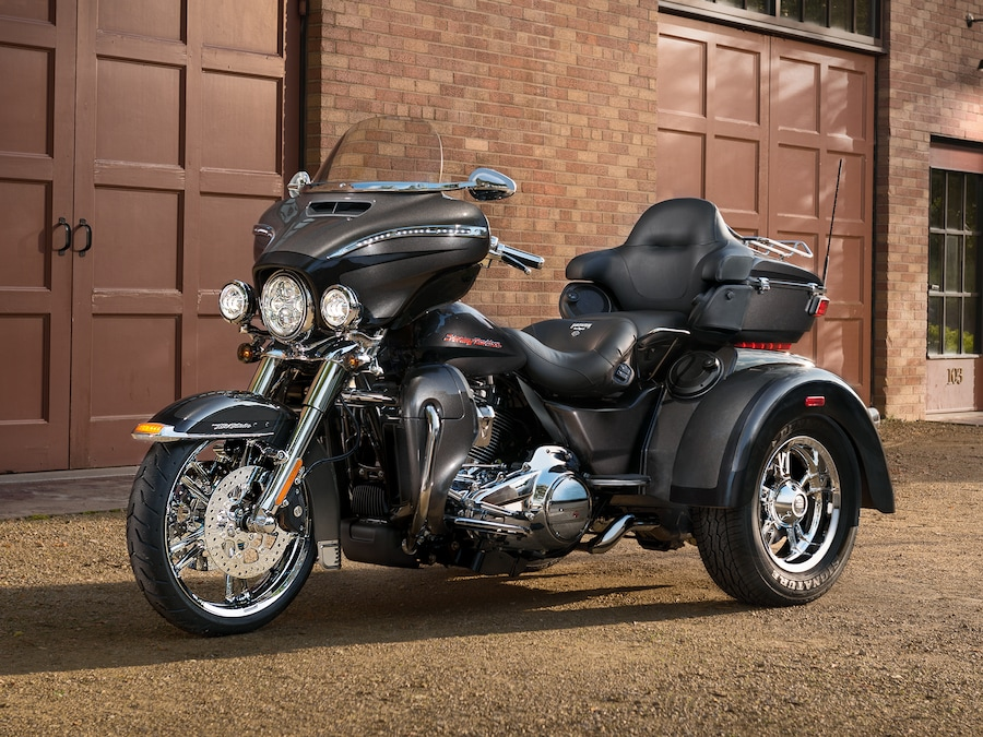 2019 Trike H-D Motorcycle Parked On A Street