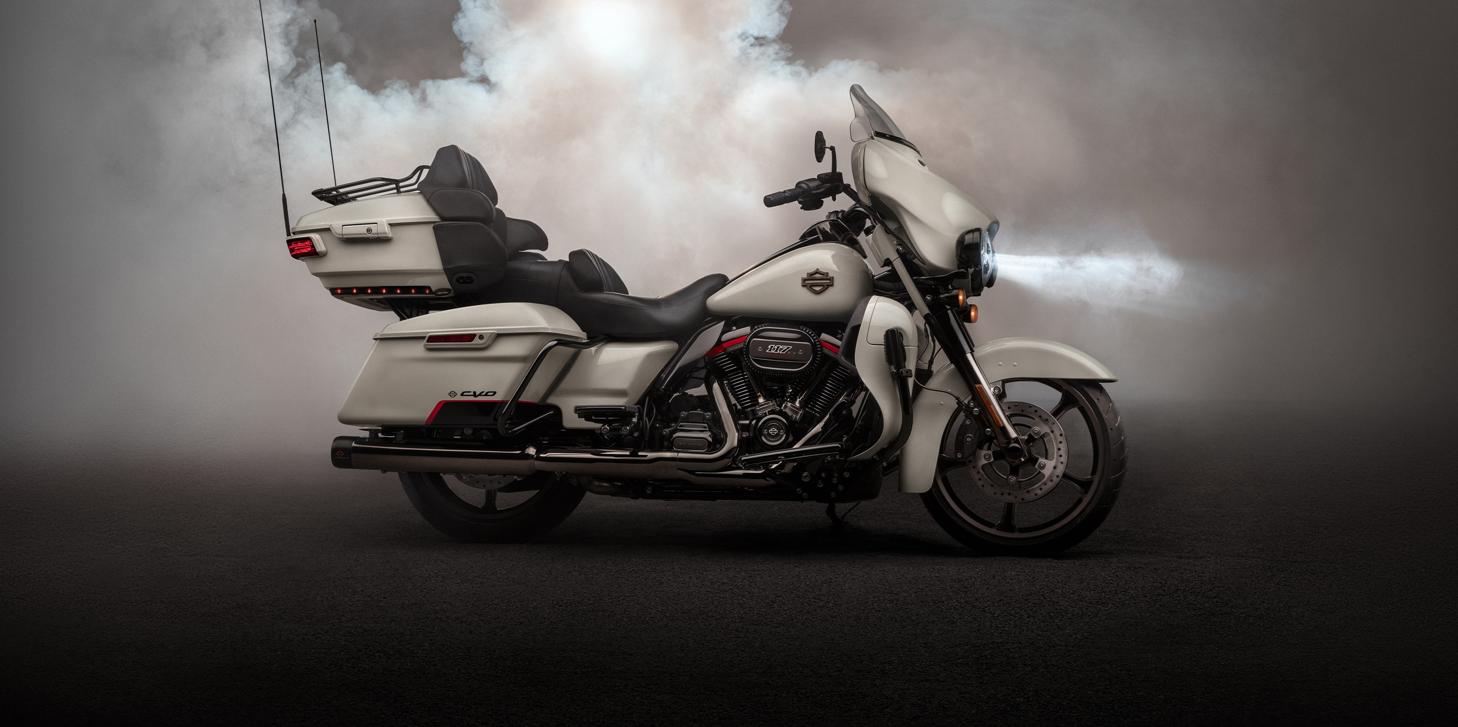 2020 CVO Limited motorcycle parked by mountain scenery