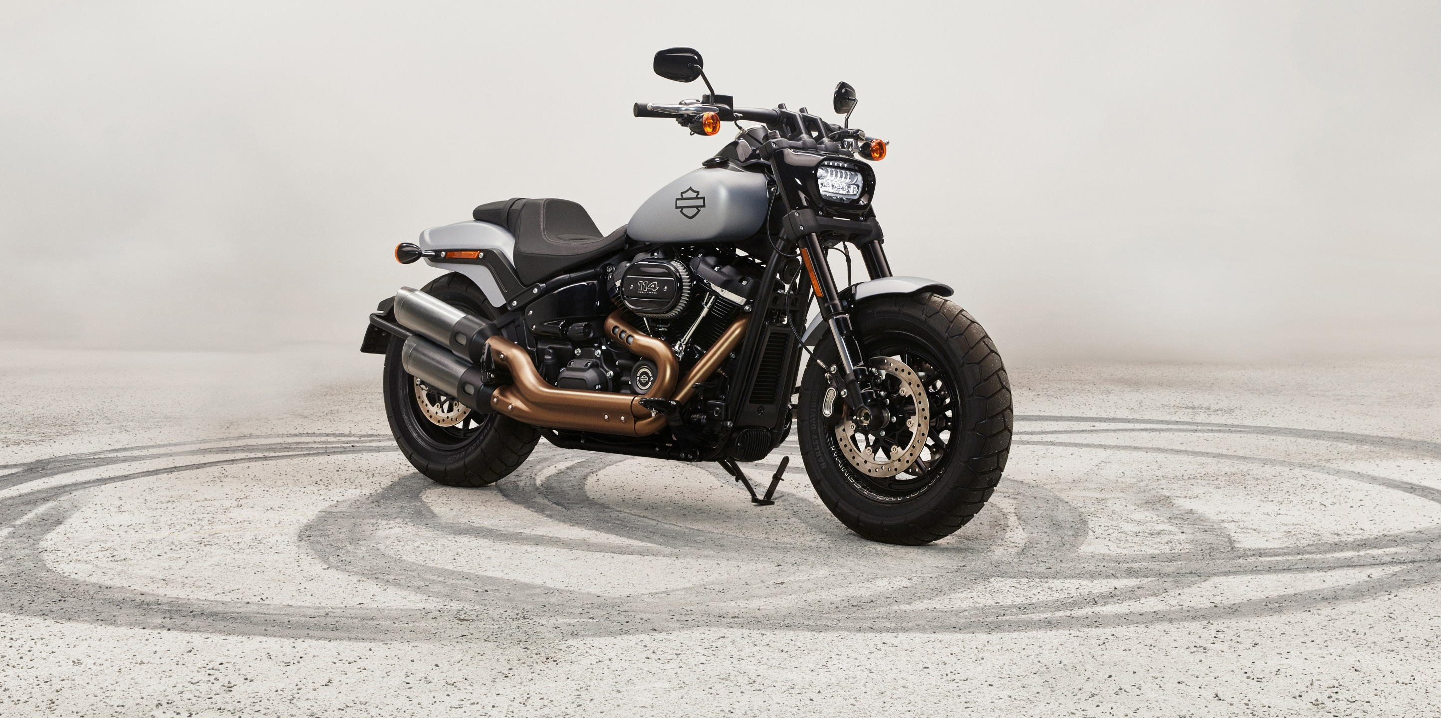 2020 Fat Bob Motorcycle parked outside a warehouse