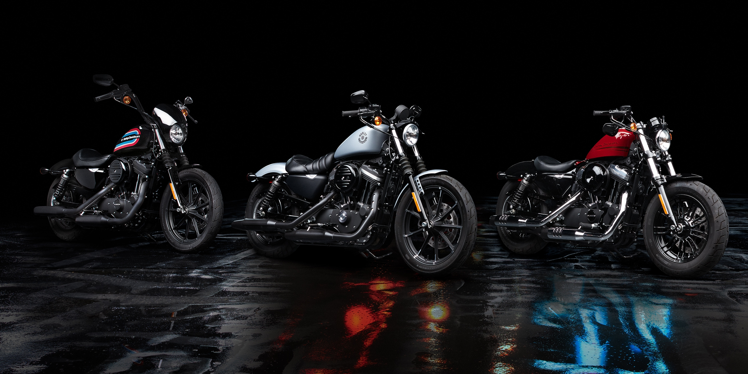 2020 H-D Sportster Motorcycles parked in front of a building