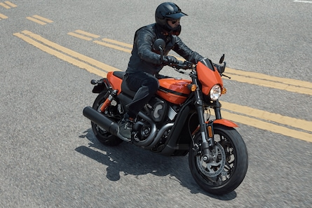 Man riding a 2020 Street H-D motorcycle