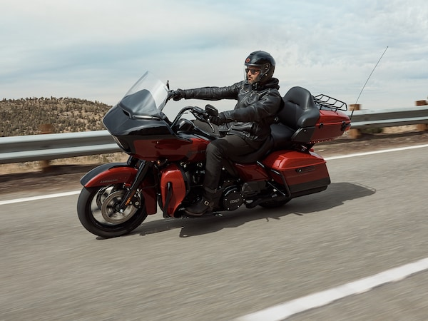 Man Riding 2020 Touring H-D Motorcycle on the Road