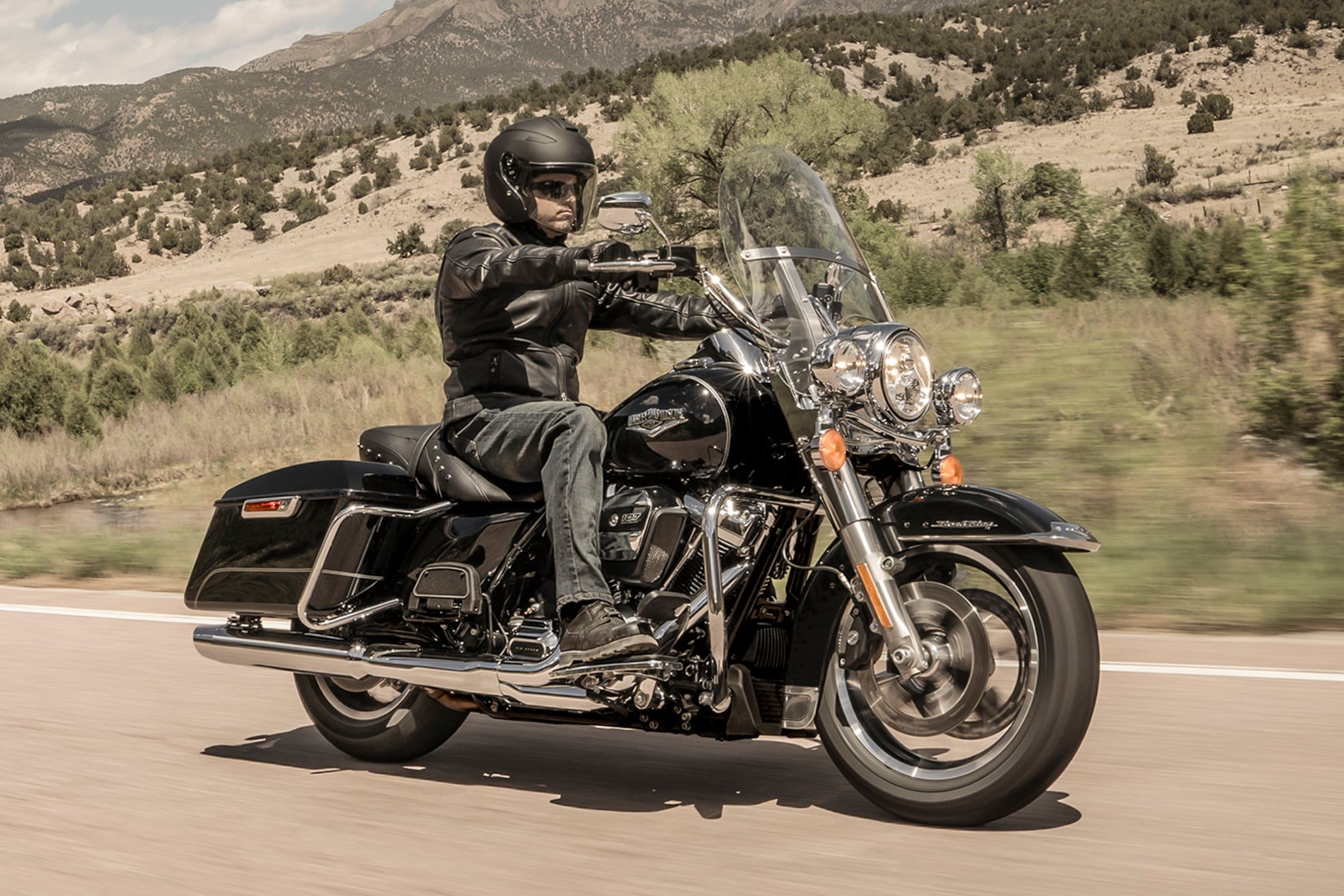 Person riding Harley-Davidson 2020 Road King motorcycle