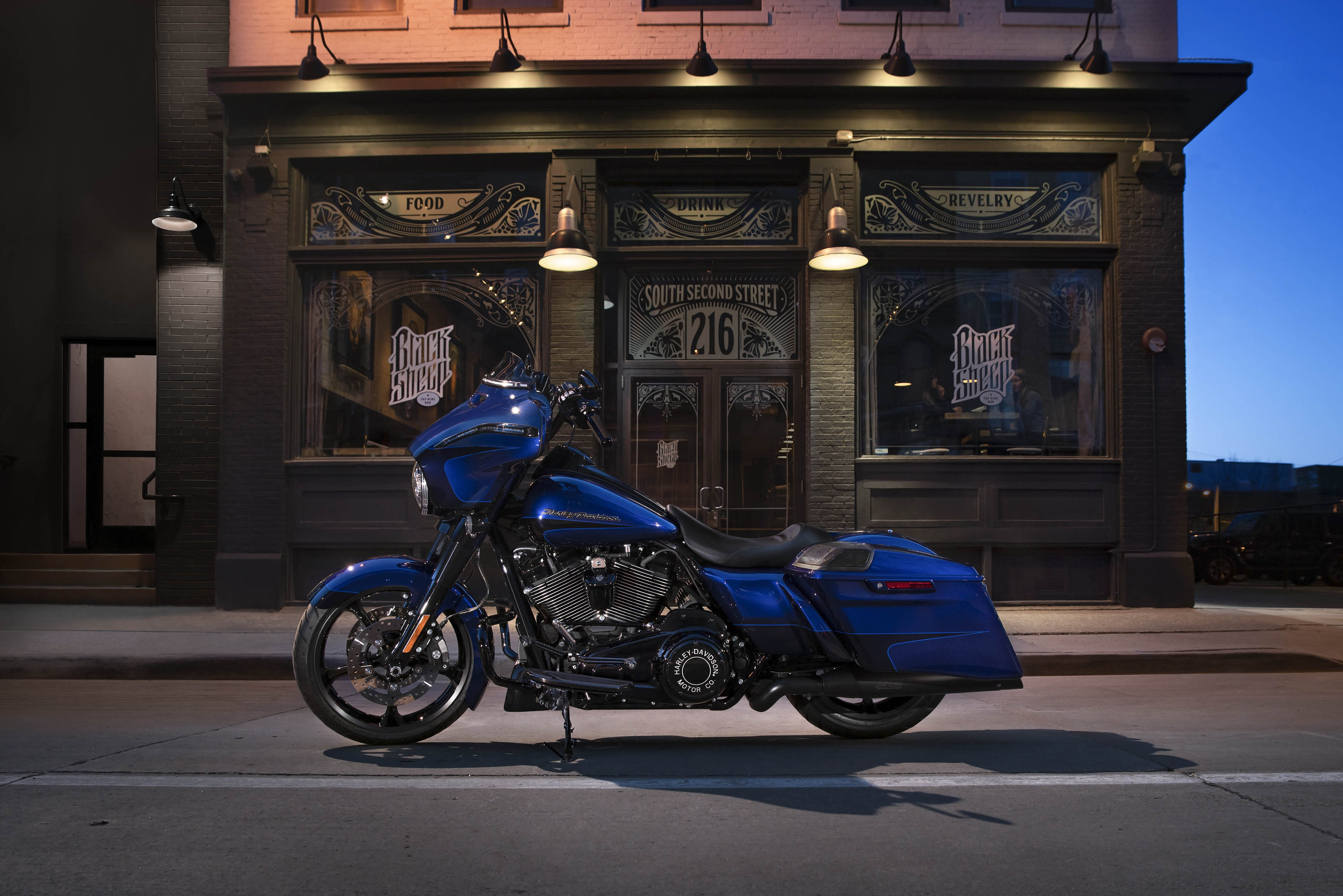 Parked 2020 Harley-Davidson Street Glide Special Motorcycle Blue