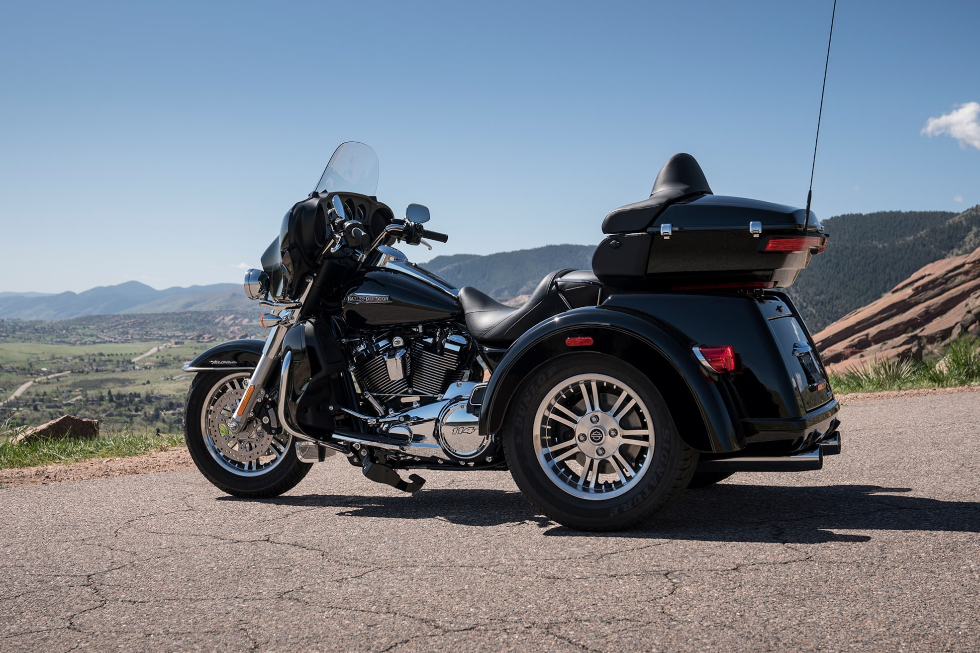 Person riding Harley-Davidson 2020 Tri Glide Ultra