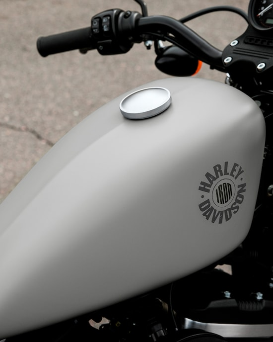 Yellow gas tank on a 2020 Iron 883 motorcycle