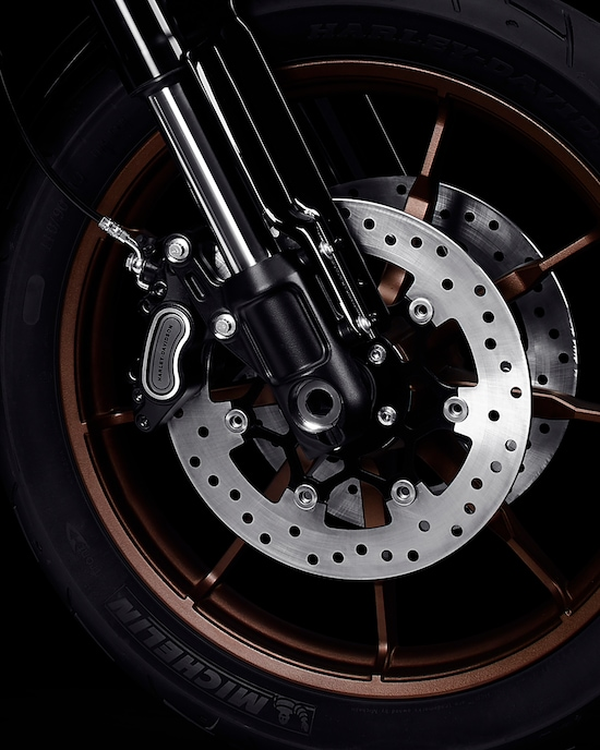 Front tire with cast wheels on a 2020 Low Rider S Motorcycle