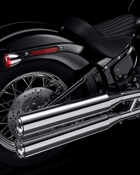 Exhaust on a Harley-Davidson 2020 Softail Standard motorcycle