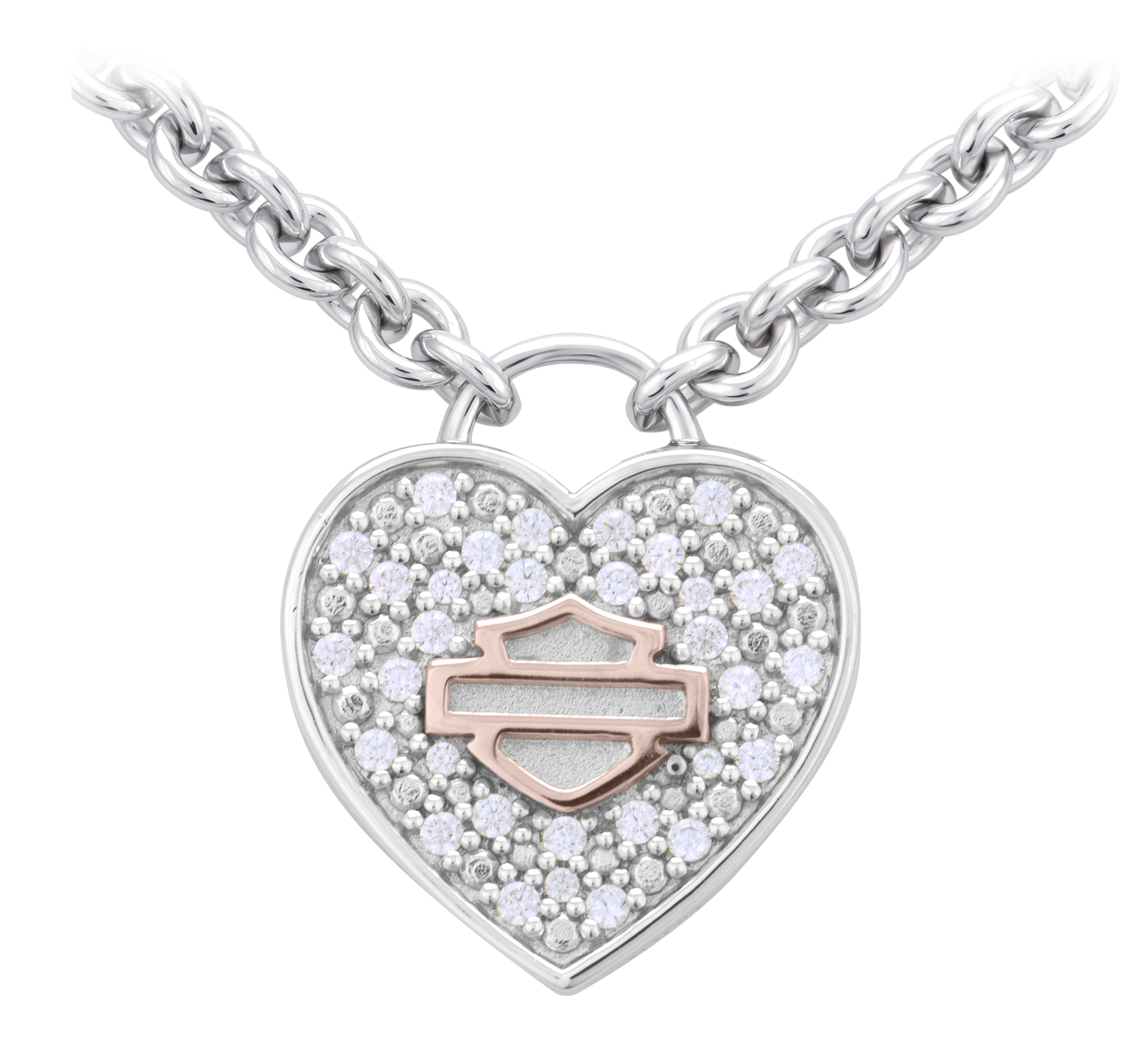 Women S Bling Heart With Rose Gold Bar Shield Necklace 99389 20vw Harley Davidson Usa