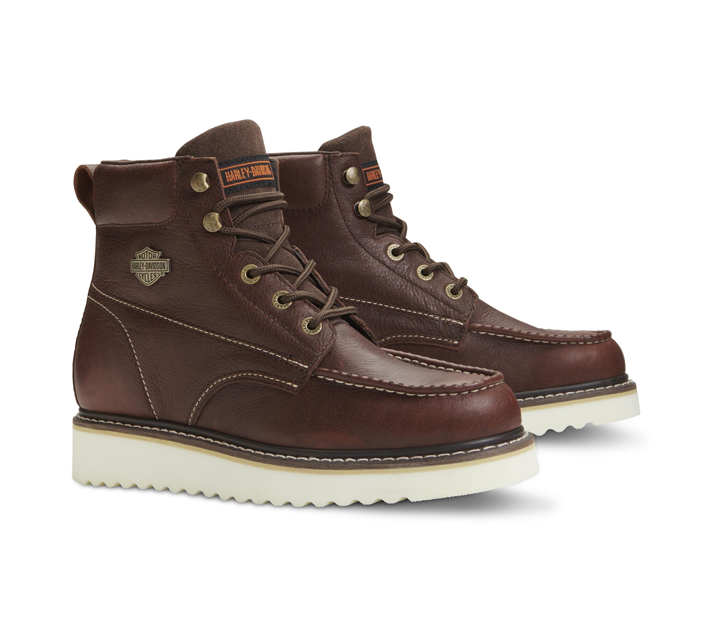 HARLEY-DAVIDSON FOOTWEAR Mens Palmerton Motorcycle Boot Brown 7