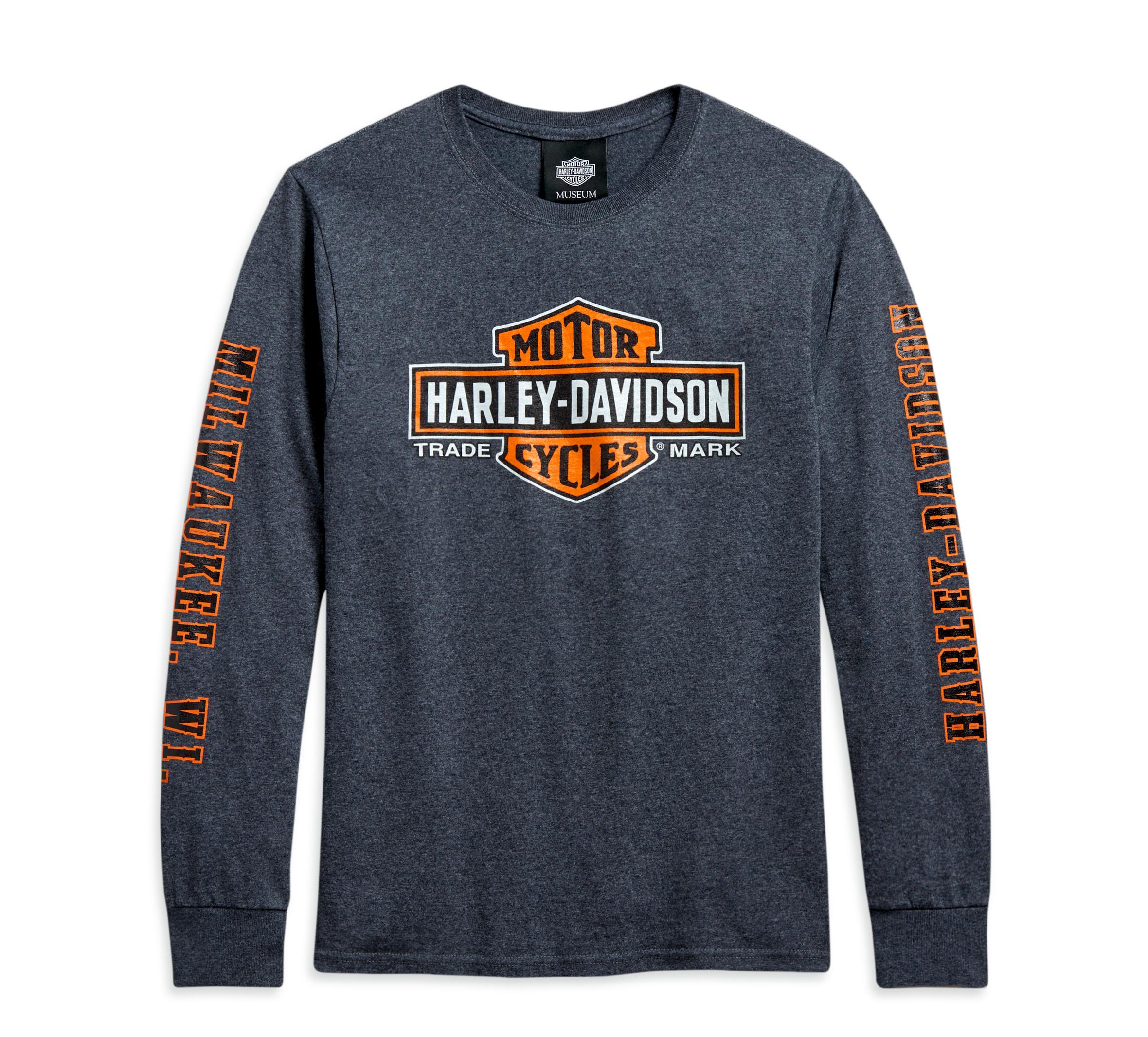 Harley-Davidson Mens Cafe Racer Trademark B/&S Grey Long Sleeve T-Shirt